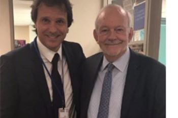 Anthony Lake, Executive Director of UNICEF, and Lelio Marmora, Executive Director of Unitaid, meet during the 72nd session of the United Nations General Assembly in New York